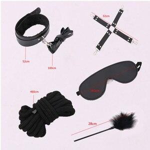 Image 4 - 13PCS Set Stimulate Bondage Restraints leather Plush BDSM Sex Handcuffs Whip Metal Anal Plug Erotic Sex Toys For Couples Adults