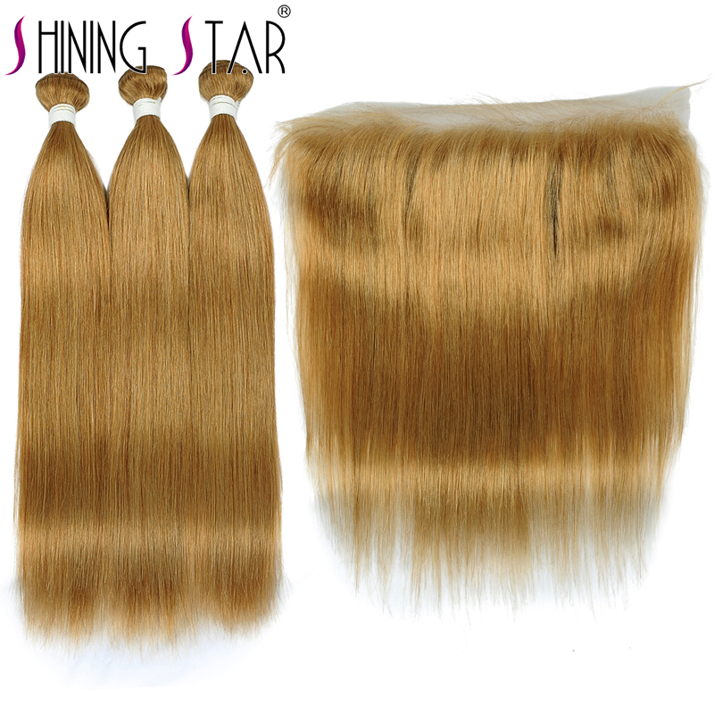 Shining Star 27 Blonde Straight Hair Brazilian Hair Weave Bundles With Frontal Pre-Plucked Remy Human Harir Bundles With Closure