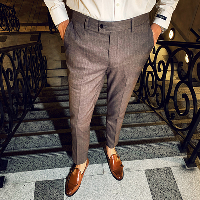 2019 Men's Casual Korean Version Of The Trend Of Autumn Handsome Wild Trousers Youth Business Striped Suit Pants