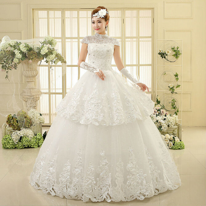 Best Lace Ball Gown Wedding Dresses Custom Size New White/ivory Beading High Collar Bridal Gown Floor Length Free Shipping