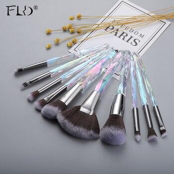 FLD Professional 10Pcs Makeup Brush Set Crystal Face Powder Blush Brushes Set Eyeliner Eyebrow Make Up Tools Kits