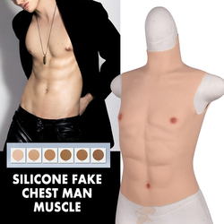 Silicone Artificial Fake Chest Man False Muscle Hunk Costume Halloween Party Dress Party