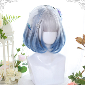MEIFAN Synthetic Short Bob Color Lolita Anime Wigs With Air bangs for Women Natural Fake Hair Black Blue Lolite Cosplay Wig
