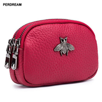 Leather cute coin purse female coin bag double zipper coin purse mini coin pocket