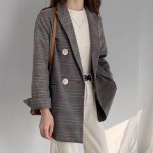 New Spring Jacket Women 2020 Causal Suit Blazer Plaid Loose Coat Special Flap Pocket Blazer Suit Female Clothes Tailored Jackets cheap MEIY WORKSHOP Long Ages 18-35 Years Old Notched Double Breasted Polyester Cotton Blends Full blazer suits coat Casual Pockets