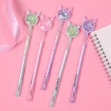 1 pçs coreano criativo papelaria bonito dos desenhos animados veados neutro caneta presente de natal rena kawaii material escolar