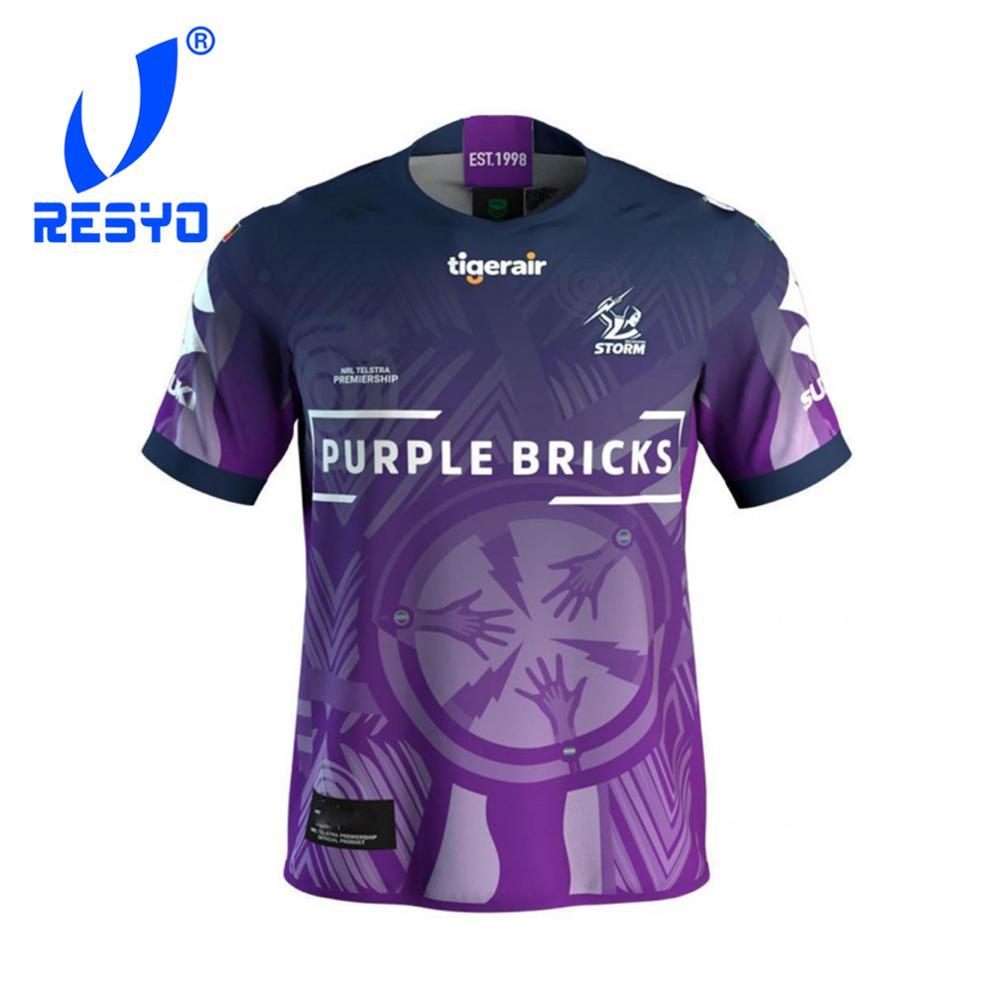 Resyo para melbourne storms 2019 masculino camisa indígena rugby esporte camisa S-3XL