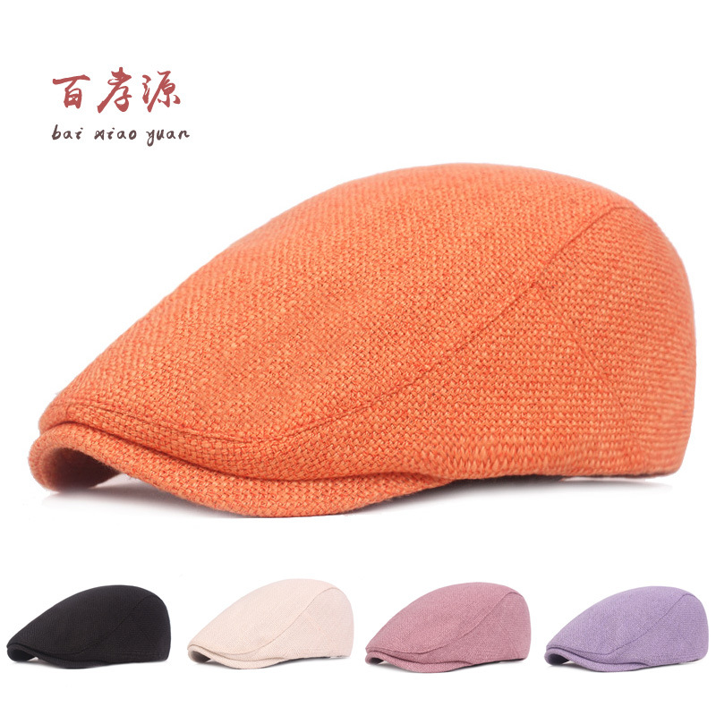 Spring Summer Linen Cotton Newsboy Caps for Men Vintage Plaid Flat Cap Berets Gorras Casual Hat