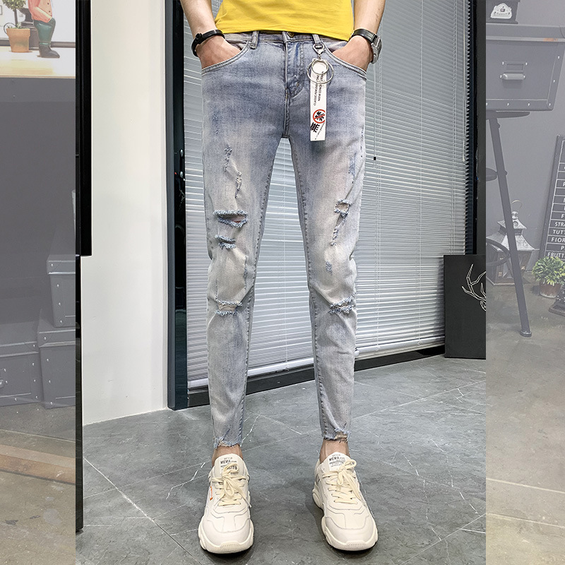Men Spring And Summer New Style Capri Jeans Men's Korean-style Trend Slim Fit Skinny Pants Social Network Red Pants