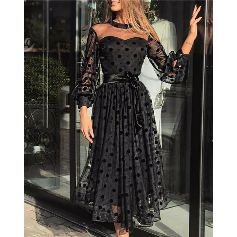 Hirigin  Women Mesh Transparent Polka Dot Dresses Long Sleeve Belted Casual Black Long Dress Summer Evening Party Vestidos