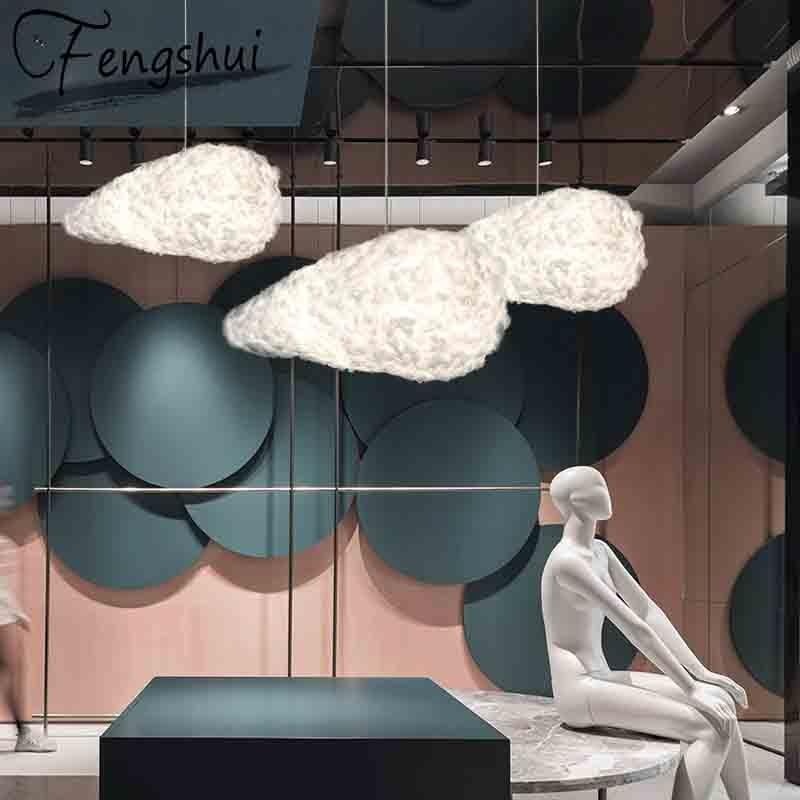 Nordic LED  PVC Pendant Lights Lighting Silk Lampshade Pendant Lamp Living Room Bedroom Restaurant Cafe Decorative Hanging Lamp