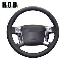 Black Genuine Leather Steering Wheel Covers Hand stitched Car Steering Wheel Cover for Ford Mondeo Mk4 2007 2012 S Max 2008