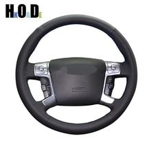 Czarne prawdziwa skóry obudowa na przyciski na kierownicy ręcznie szyte osłona na kierownicę do samochodu Ford Mondeo Mk4 2007 2012 s max 2008