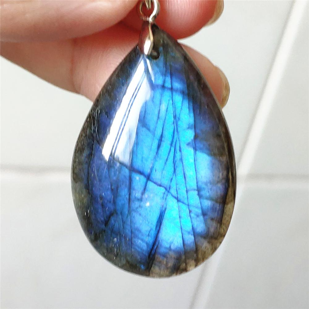 100% Natural Labradorite Blue Light Pendant Women Gemstone Men Water Drop Fashion Stone 36x25x7mm Crystal Necklace Pendant AAAAA