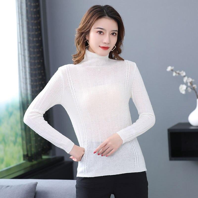 Minimalist Woman Turtleneck Sweater Warm Soft Cashmere Wool Pullovers Women Pure Colour Woolen Knitted Tops Slim Fit Knitwear