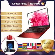 Dere r9 pro 15.6 polegada 8gb 256gb reconhecimento de impressão digital do portátil blacklit teclado 1920x1080 notbook laptops intel pentium computador