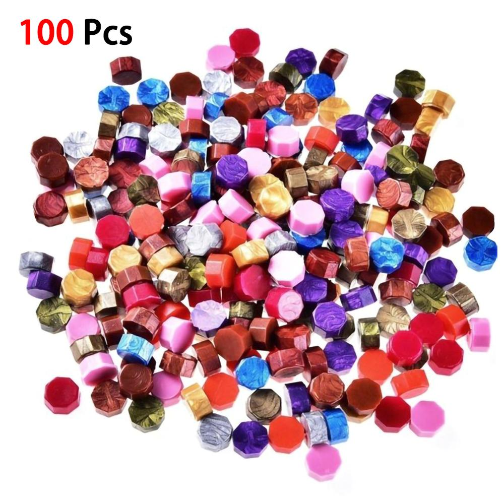 100Pcs/Lot Mixed Color Stamp Wax Vintage Wax Seal Stamp Tablet Pill Beads For Envelope Wedding Wax Seal Ancient Sealing Wax