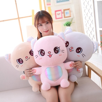 1 piece sweet artificial real fur made cats toy sleep baby kat kittens pussy cat doll decorations birthday gift for child girls Hot Cartoon Cute Doll Cat Plush Stuffed Cat Toy Baby Appease Toys Home Decoration Birthday Gift Kids Toys Plush Dolls For Girls
