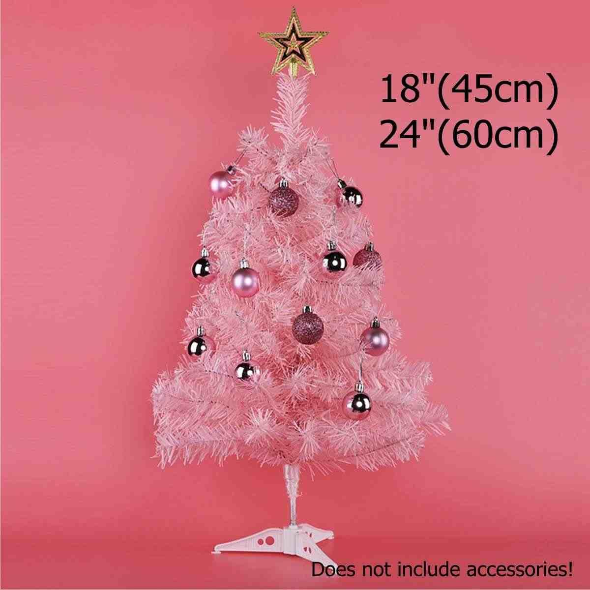 1.5/2ft 45/60cm ורוד מלאכותי חג המולד עץ X mas PVC עץ ירוק עם Stand החגים מקורה חיצוני רומנטי Decoratio