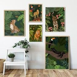 Постеры и принты в скандинавском стиле с гепардом львом тигром леопардом джунглей настенная живопись на холсте настенные картины для гости...