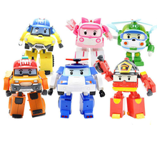 6 Styles Korean Kid Toys Robocar Poli Transformation Robot Poli Amber Roy Car Toys Action Figure Toys For Boys Christmas Gifts