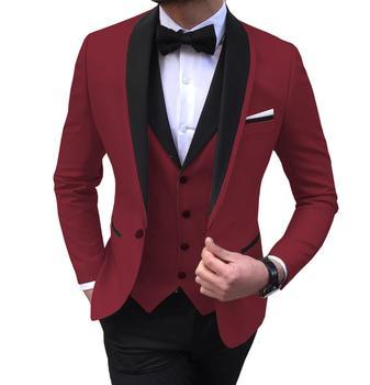 Blue Slit Mens Suits 3 Piece Black Shawl Lapel Casual Tuxedos for Wedding Groomsmen Suits Men 2020 (Blazer+Vest+Pant) 8