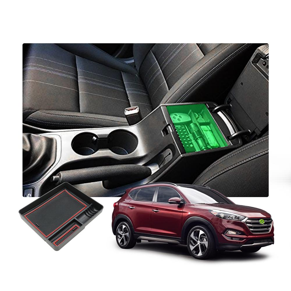 RUIYA Car Central Control Armrest Storage Box For Tucson 2th 2016 2017 2018 Stowing Tidying Auto Interior Decoration Accessories