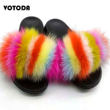 Summer Fluffy Fur Slippers Women Real Fox Fur Slides Raccoon Fur Flip Flop Flat Outdoor Furry Sandals Casual Female Plush Shoes luxury women slippers real fox fur summer shoes platform plush woman slippers beach shoes outdoor plus size flat slides female
