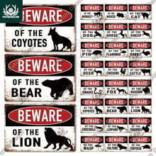 Putuo decoração animais aviso do vintage estanho sinal cuidado do perigo placa de metal decoração da parede área cênica ao ar livre besta selvagem aviso sinal