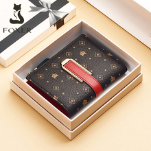 FOXER Retro Monogram Wallet Ladies Money Bag Chic PVC Leather Women ID Card Holder Female Small Purse Fashion Girl's Clutch Bag
