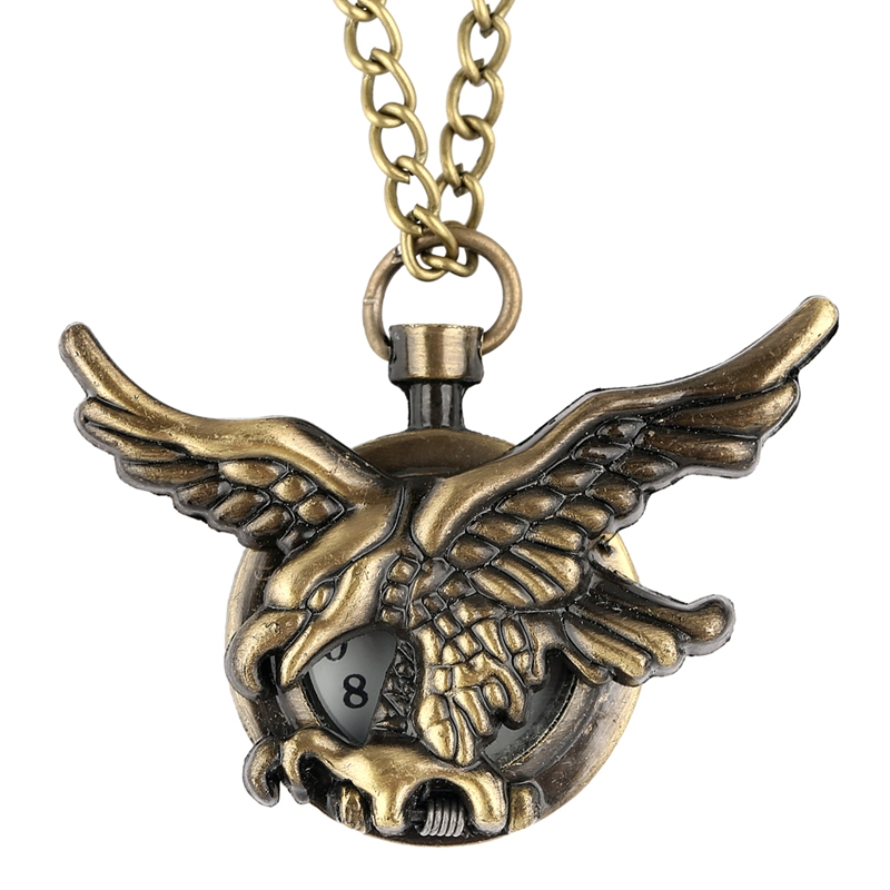Vintage Jewelry Antique Bronze Eagle Wings Pocket Watch Small Size FOB Watch Necklace Chain Gift For Men Women Reloj De Bolsillo