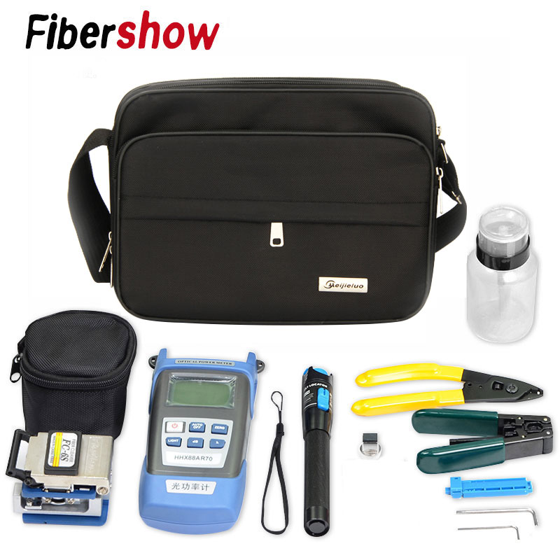 FTTH Fiber Optic Tool Kit With Fiber Cleaver -70~+10dBm Optical Power Meter Visual Fault Lcator 5km
