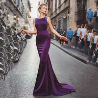 Tipo sirena de satén largo, vestidos de noche 2020 morados con cuentas para mujer, fiesta Formal sin respaldo, vestido elegante largo de noche, vestido de noche