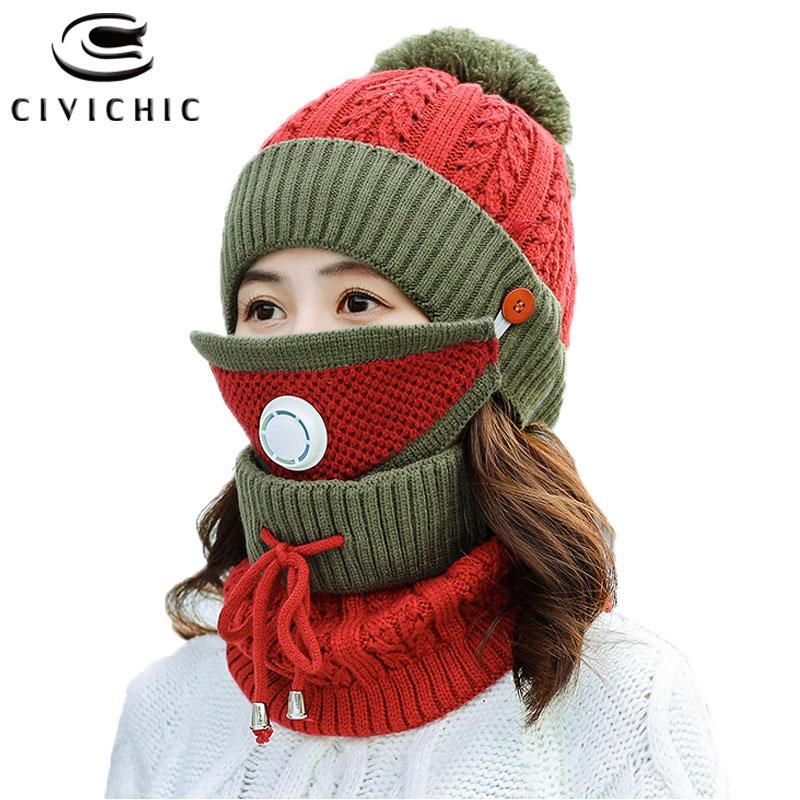 CIVICHIC Hot Fashion Woman Winter Knit Hat Scarf Mask 3 Piece Set Thick Pompon Beanies Warm Suit Neck Warmer Fleece Cap SH123