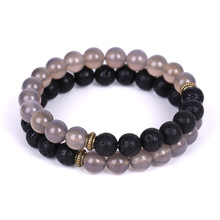 8mm Gray Natural Stone Beads Bracelet Men Lava Beaded Bracelets For Women Jewelry Gifts red watermelon tourmaline stone beads bracelet for women men natural stone bracelet crystal quartz bracelets elastic
