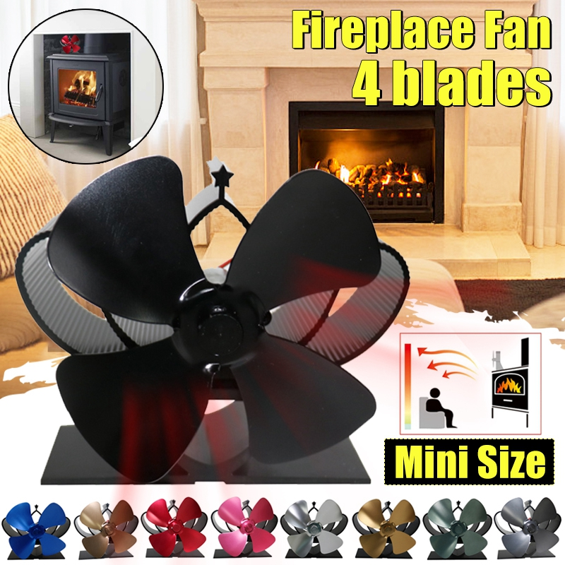 Mini Stove Fan 4 Blade Fireplace Fan Heat Komin Powered Wood Burner Eco Fan Home Friendly Quiet Efficient Heat Distribution Tool