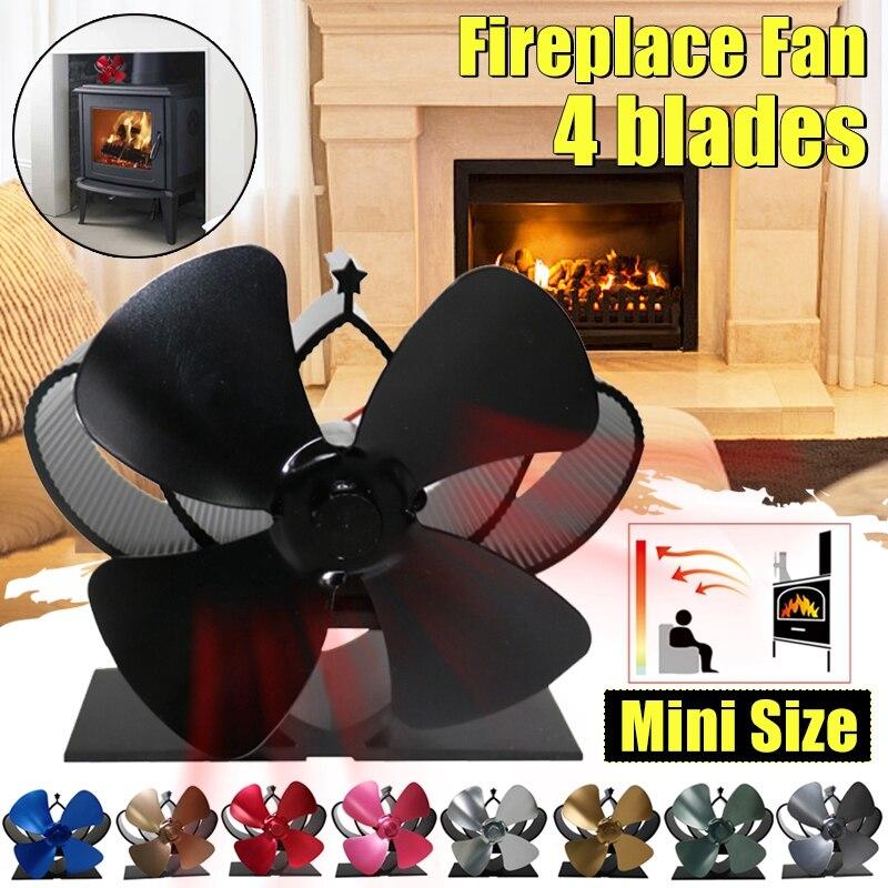 Mini Stove Fan 4 Blade Fireplace Fan Heat Komin Powered Wood Burner Eco Fan Home Friendly Quiet Efficient Heat Distribution Tool