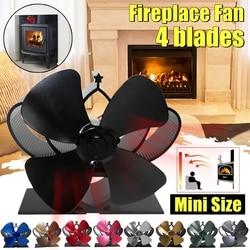Mini ventilador de estufa 4 cuchillas ventilador de chimenea calor komin quemador de Madera Eco ventilador hogar silencioso eficiente distribución de calor herramienta