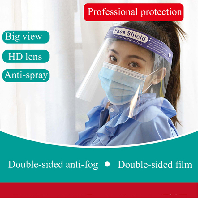 Hot 10pcs Splash-Proof Protective Face Shield Reusable Full Face Protective Mask Saliva Protection Clear Visor Respirator 2
