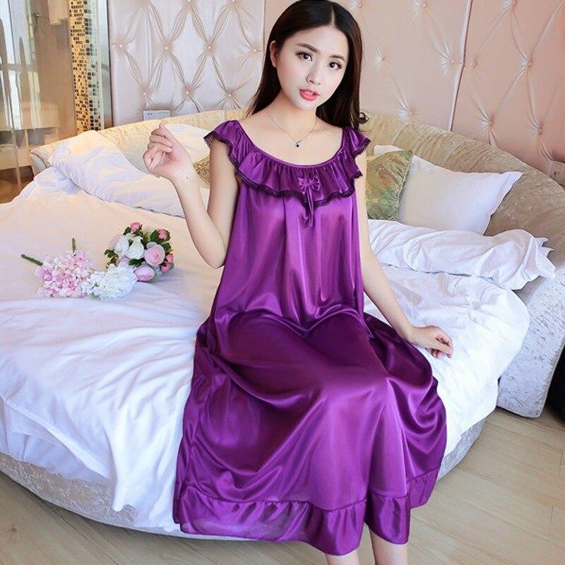 Purple Summer Silk Ruffled O Neck Sleepwear Long Sleeveless Lingerie Women Nightwear Imitation Night Gowns Home Satin Nightgown