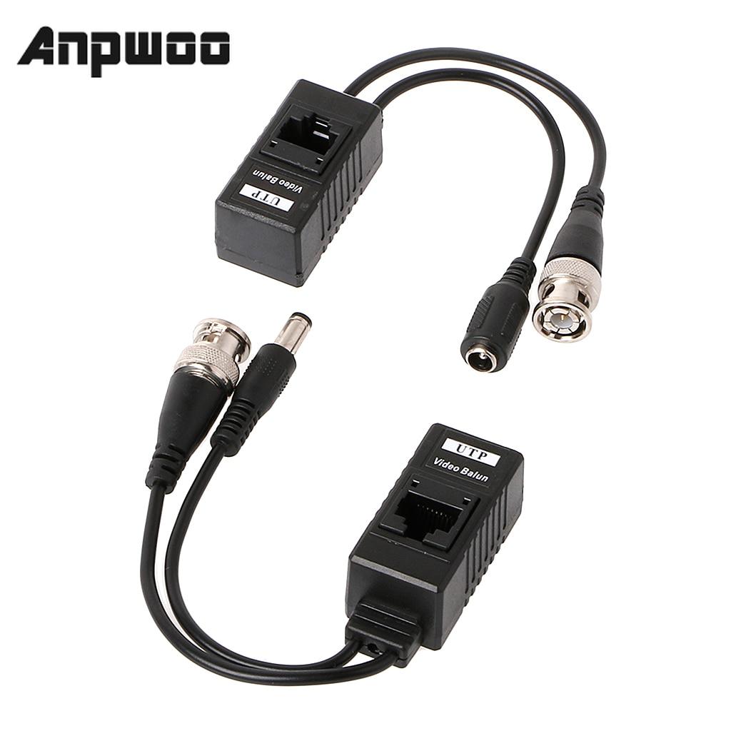 Anpwoo 1 par bnc para rj45 potência de vídeo passiva + áudio balun transceptor para câmera cctv