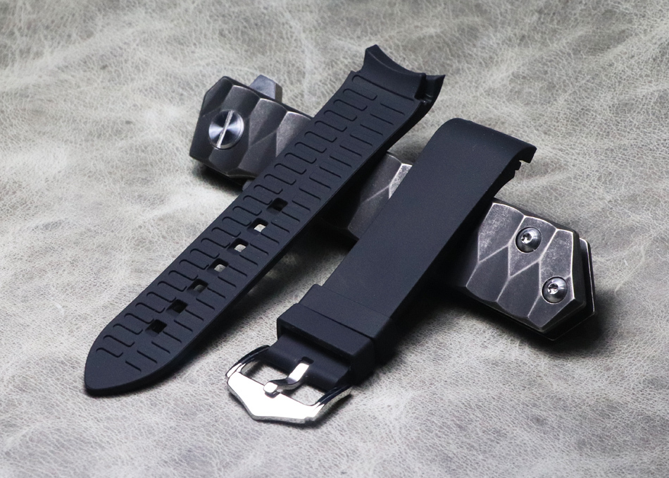 Silicone Rubber Bracelet 18mm 20mm 22mm Watchband Sport Watch Strap Curved End Black Arc Mouth Wristband Waterproof Accessories