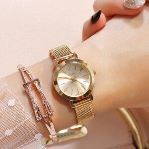 Image 2 - Reloj de pulsera de acero dorado y rosa para mujer, pulsera de malla plateada, relojes de cuarzo para chica, reloj sencillo informal para adolescentes