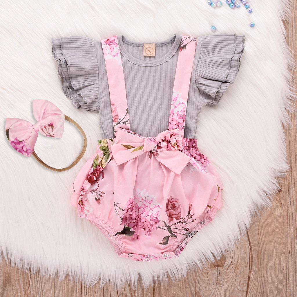 Fashion Baby Girl Clothes Baby Sets Cotton O-neck Toddler Infant Sleeveless Ruffle Tops Overall Floral Short Clothes Set H4