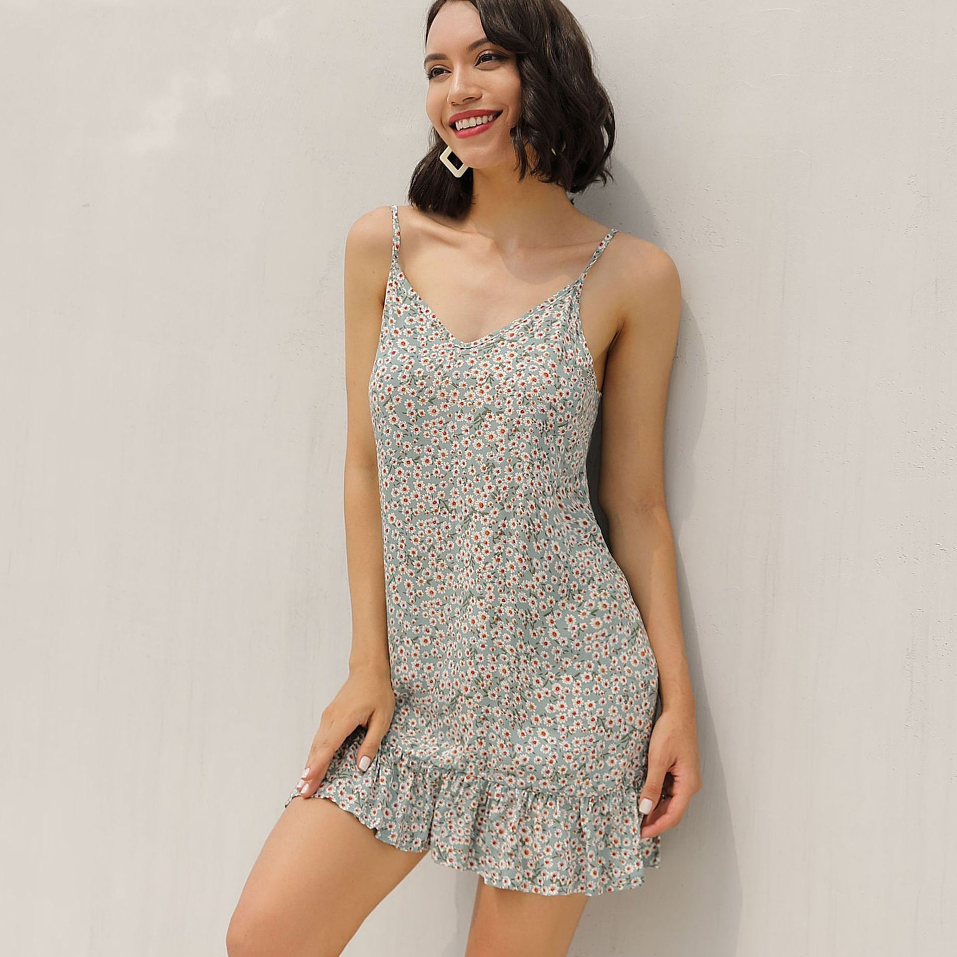 Spring and summer new style Halter ruffled sexy dress Temperament sash floral dress in Dresses from Women 39 s Clothing