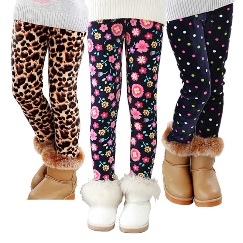 VEENIBEAR Autumn Winter Girls Pants Velvet Thicken Warm Girls Leggings Kids Children Pants Girls Clothing For Winter 2-7T 1
