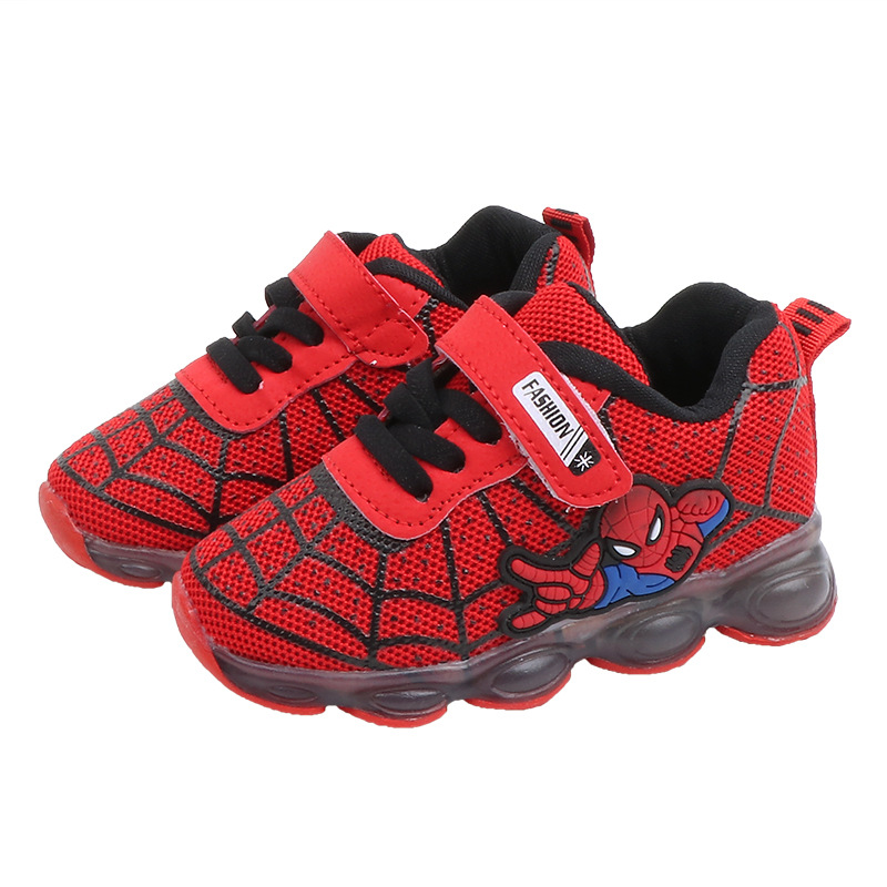 Spiderman Light LED Kids Shoes Luminous Sneakers Trainers Boys Girls Babies NEW