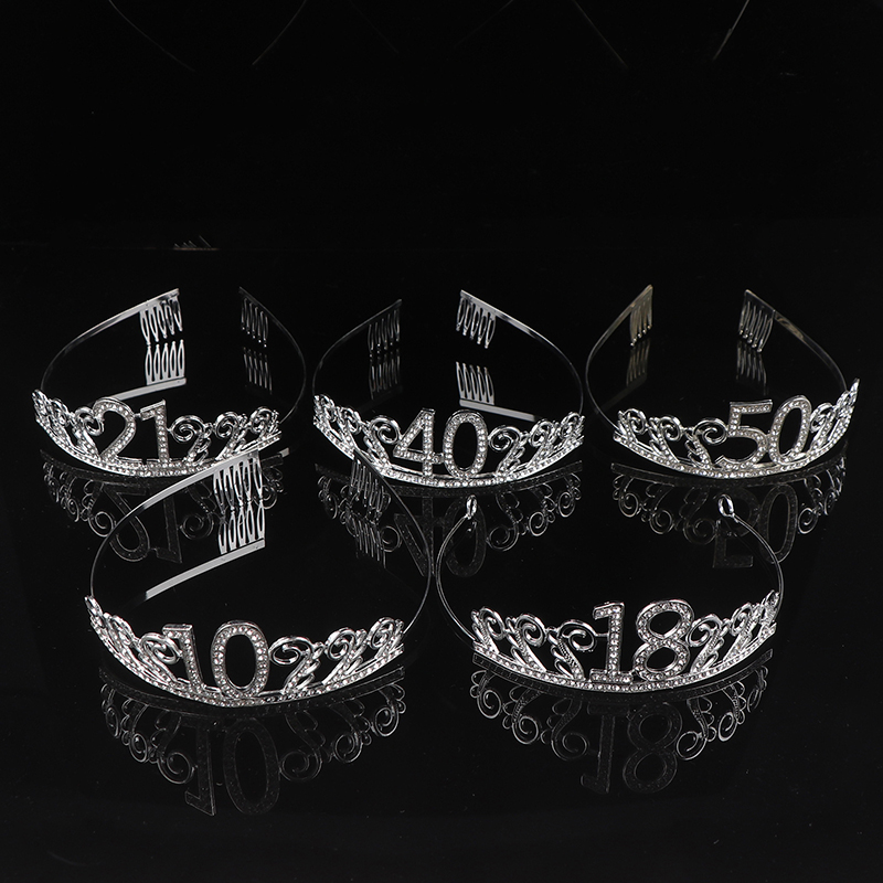 10 <font><b>18</b></font> 20 50th <font><b>Birthday</b></font> Party <font><b>Decorations</b></font> Adult Crystal Rhinestone Tiara Princess Crown Hairbands Accessories image