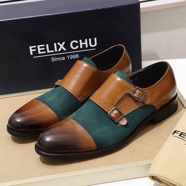 Masculino oxford sapatos de couro genuíno camurça sapatos casuais boné toe fivela dupla cinta monge clássico vestido sapatos verde marrom sapatos masculinos