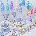 Одноразовое украшение русалки на день рождения, посуда для маленькой русалки ww66
